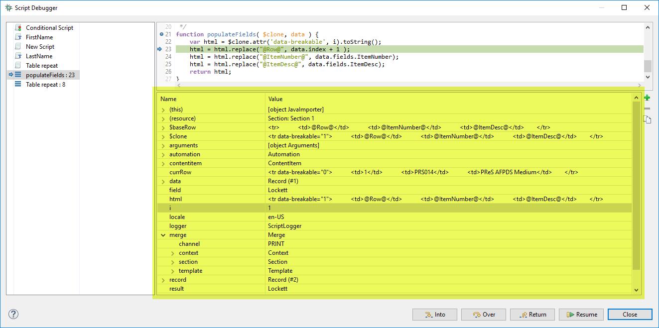 Script debugger