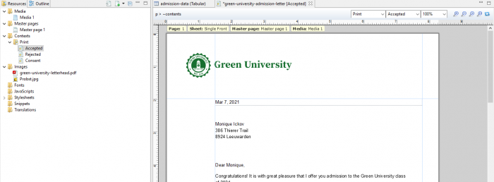 An example of a university admission template.